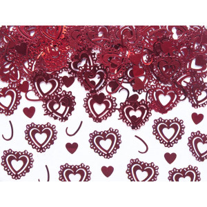 PartyDeco Konfetti Utsmyckade Hjärtan, röda