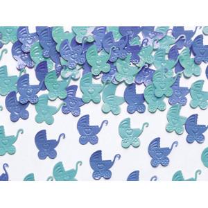PartyDeco Konfetti Barnvagnar, blå