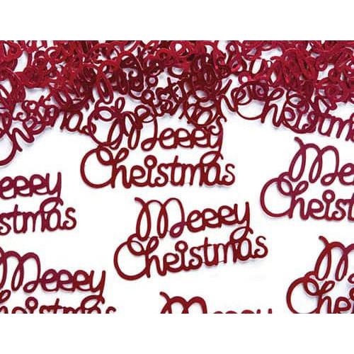 PartyDeco Konfetti Merry Christmas, röd