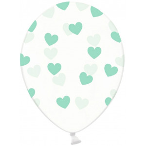 PartyDeco Ballonger Transparenta, hjärtan, mint