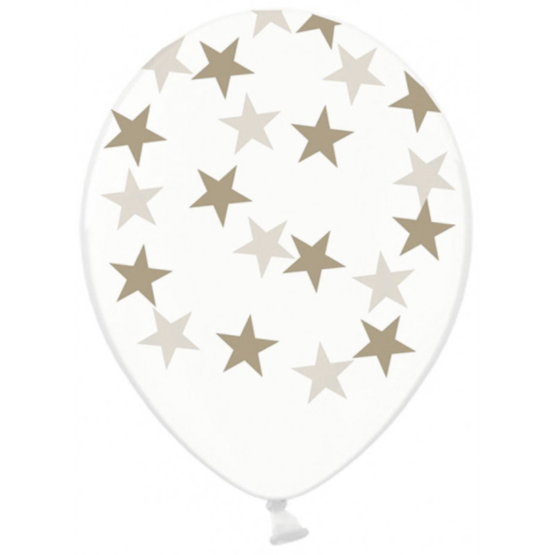 PartyDeco Ballonger Transparenta, stjärnor, gråbrun