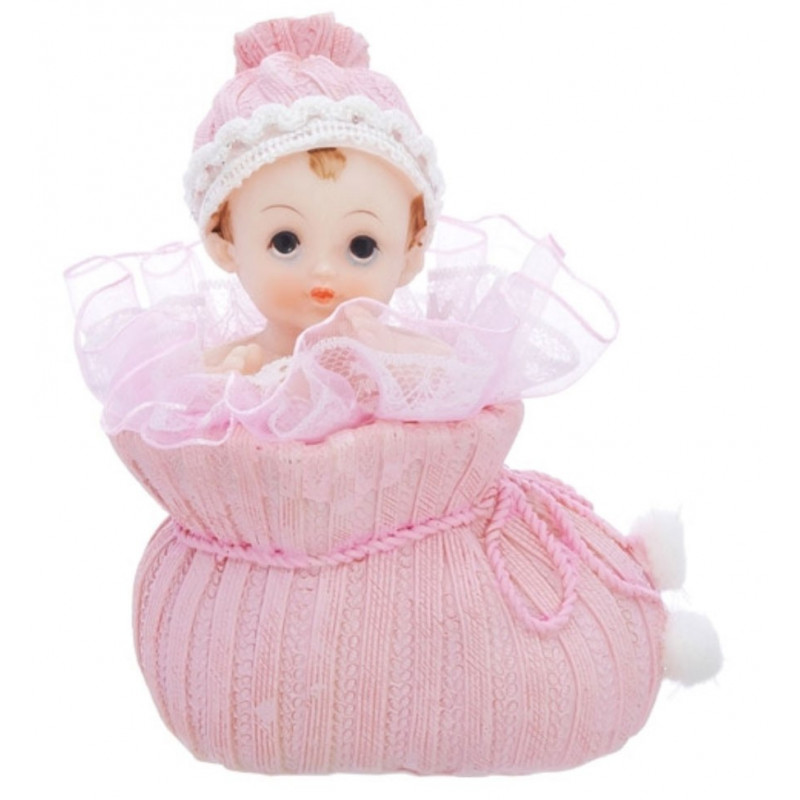 PartyDeco Tårtdekoration Baby i sko, rosa