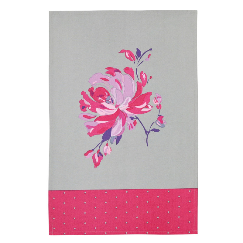 Kitchen Craft Kökshandduk Blommor, grå och rosa