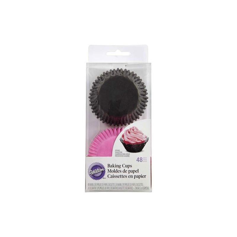 Wilton Muffinsform Doily, rosa och svart