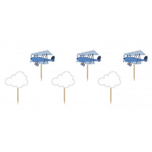 PartyDeco Cupcake Toppers Flygplan