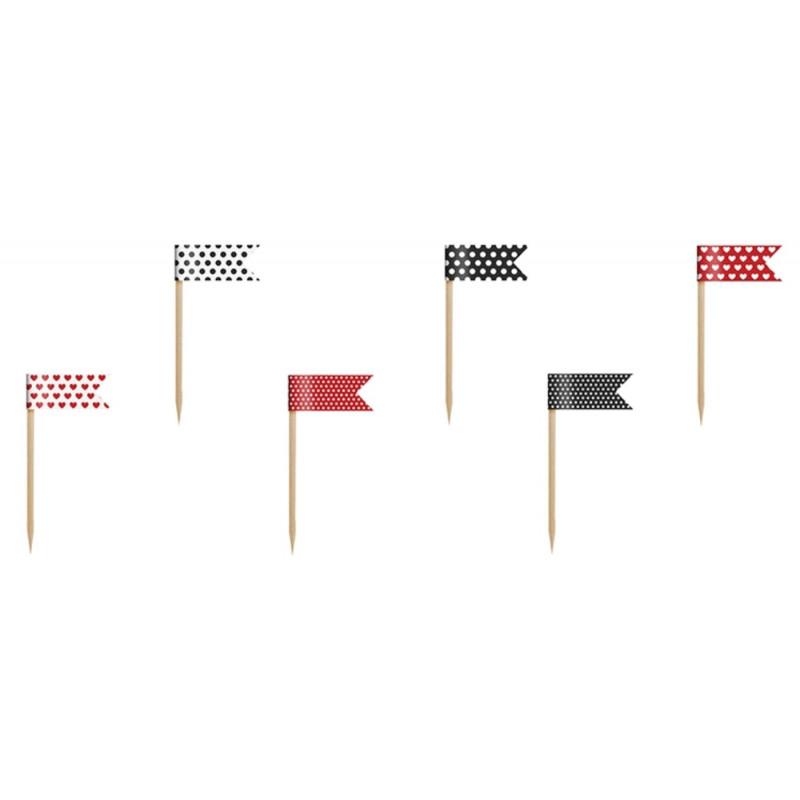 PartyDeco Cupcake Toppers Flaggor, röd och svart