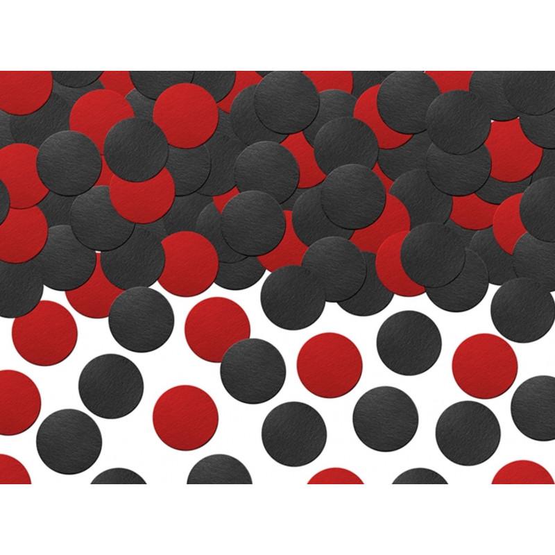 PartyDeco Konfetti cirklar, röd och svart