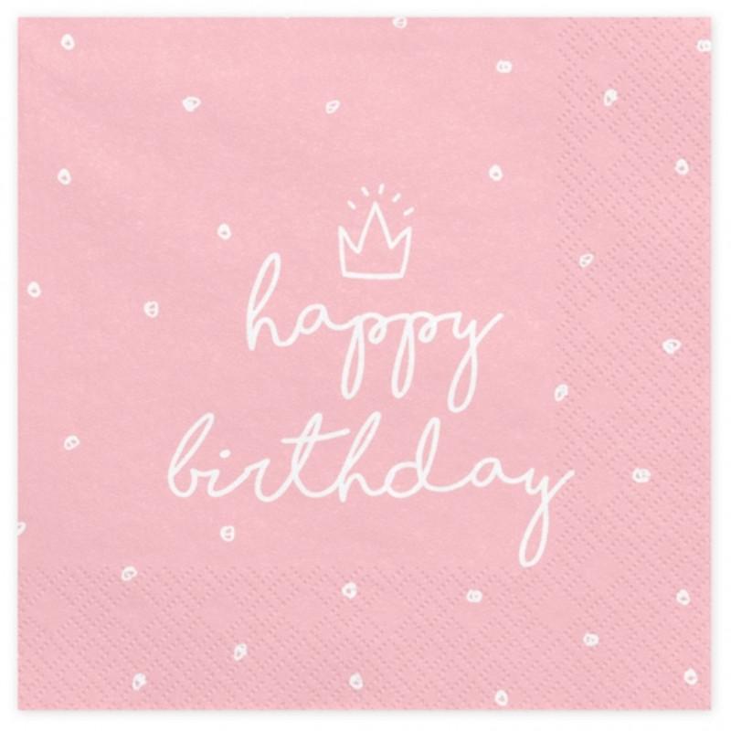 PartyDeco Servetter Happy Birthday, rosa