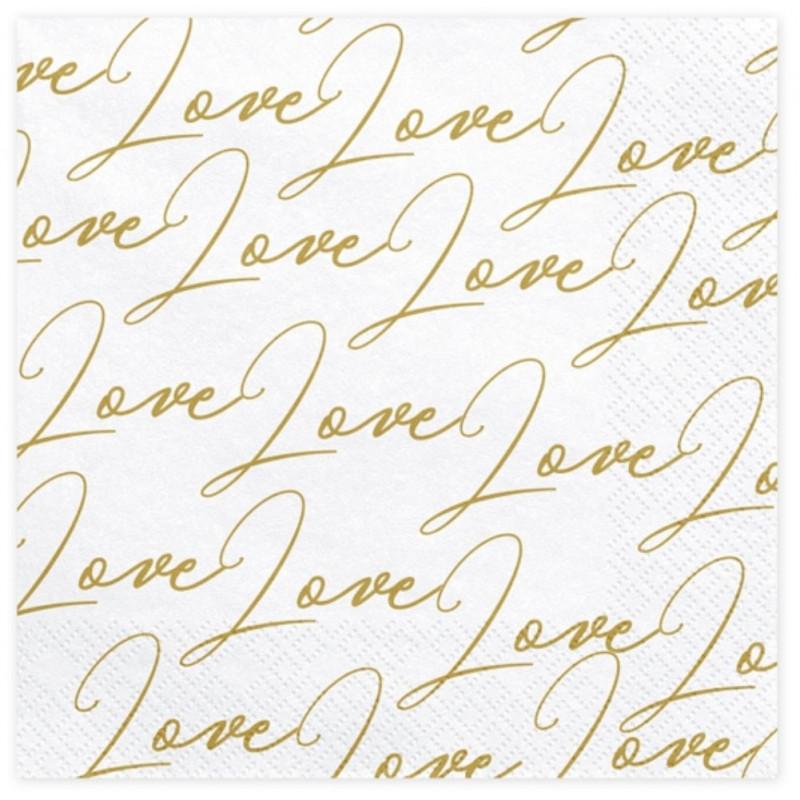 PartyDeco Servetter Love, guld