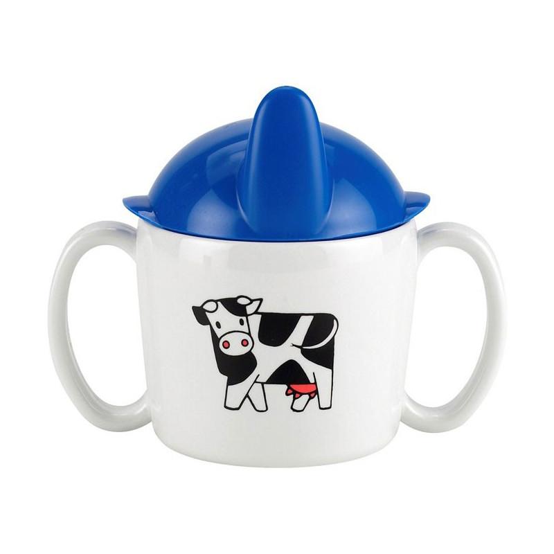 Rosti Mepal Babymugg med pip, Farm, vit/blå