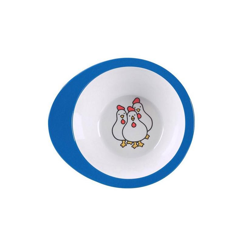 Rosti Mepal Babyskål, Farm, 16 x 4 cm, vit/blå