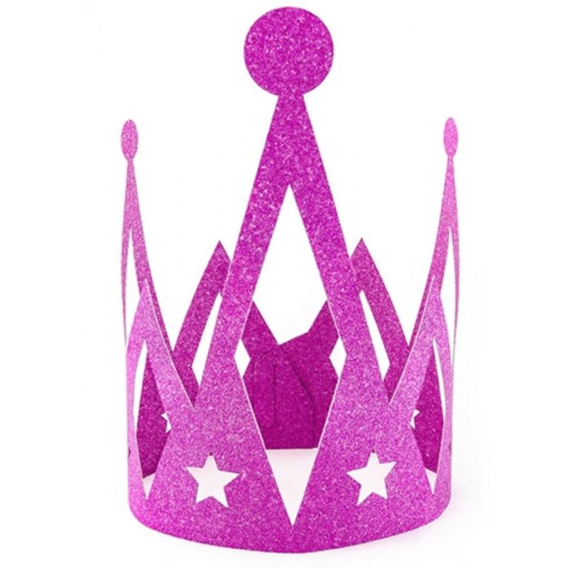 PartyDeco Prinsesskrona i papper, rosa glitter