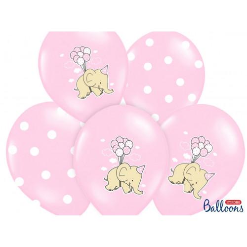 PartyDeco Ballonger Rosa, elefanter