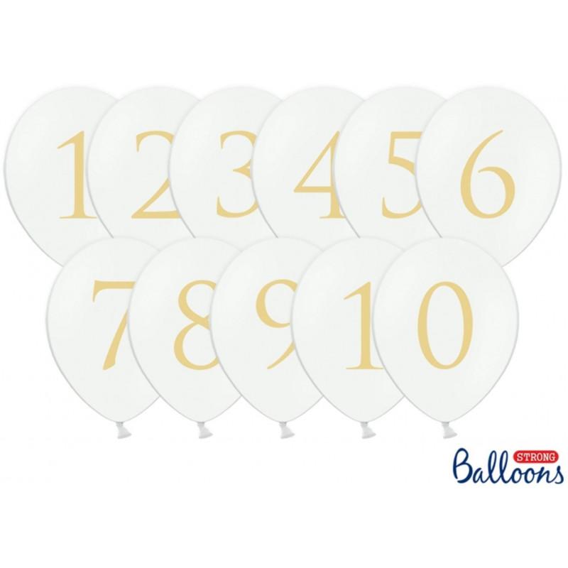 PartyDeco Ballonger Siffror 1-10, vita