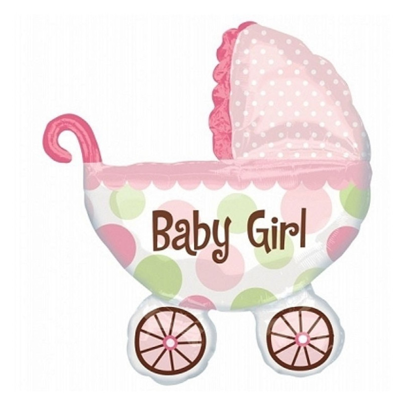 Anagram Ballong i microfolie, rosa barnvagn