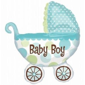 Anagram Ballong i microfolie, blå barnvagn