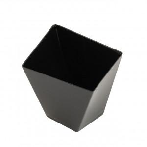 Engångsbägare i plast, fyrkantig vriden, svart, 50 st