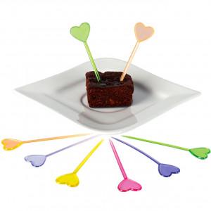 Cocktailpinnar i plast, Hjärta, blandade färger, 50 st