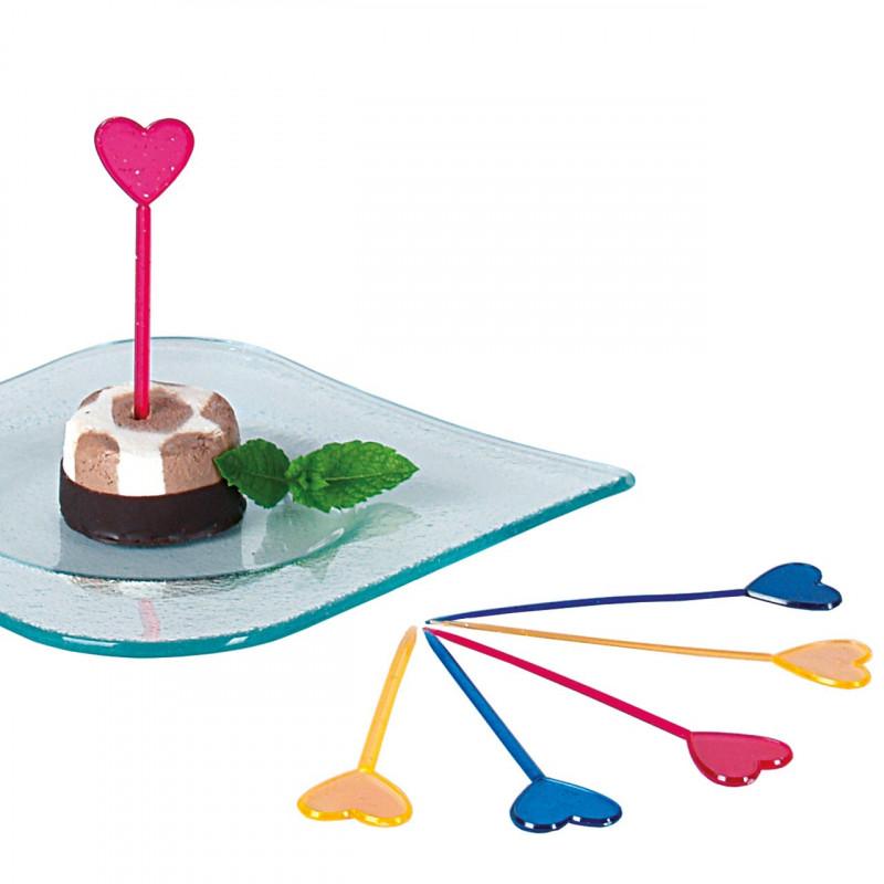 Cocktailpinnar i plast, Hjärta med glitter, 50 st