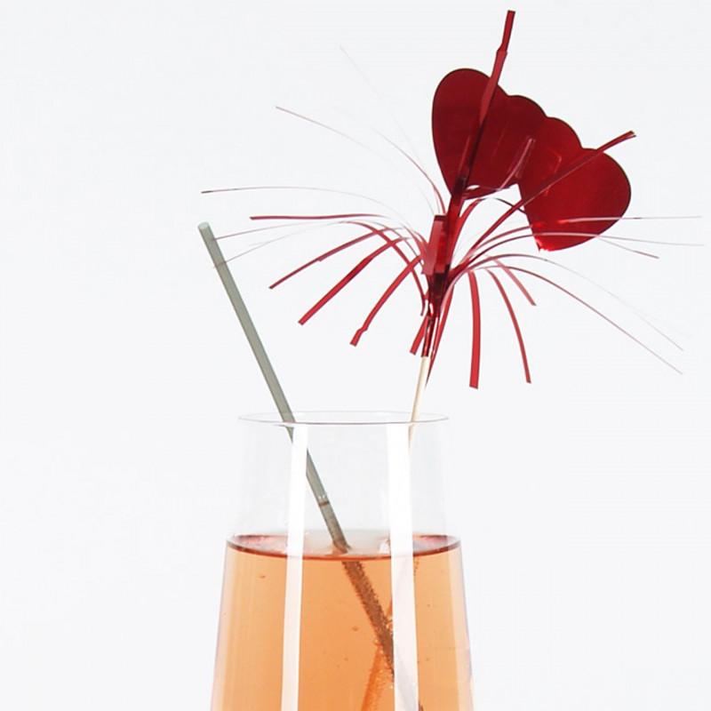 Drinkpinnar Hjärta, röd, 100 st