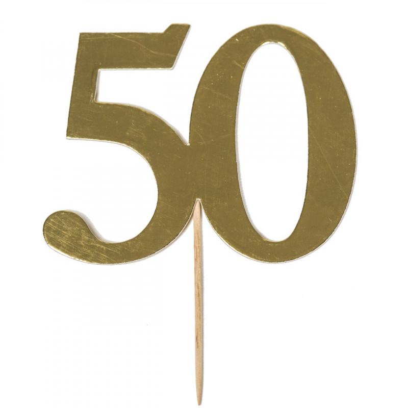 Cake Topper 50 år, guld