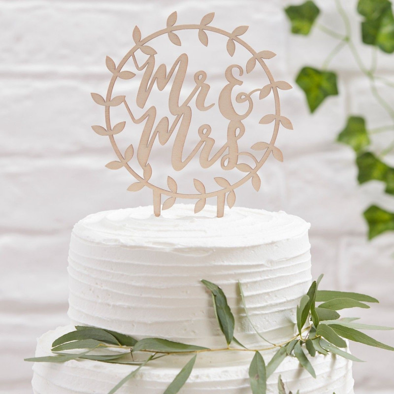 Ginger Ray Cake Topper i trä, Mr & Mrs, blad