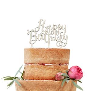 Ginger Ray Cake Topper i trä, Happy Birthday