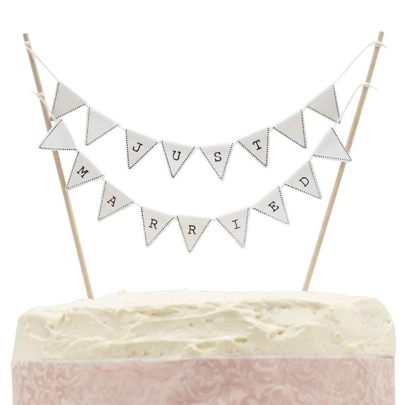 Ginger Ray Cake Topper Flaggor, Just married
