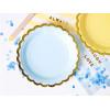 PartyDeco Papperstallrikar, ljusblå & guld