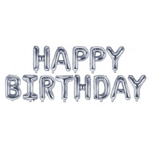 PartyDeco Folieballong Happy Birthday, silver