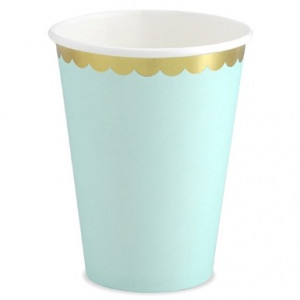 PartyDeco Pappersmuggar, mint & guld