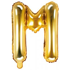 PartyDeco Bokstavsballong M, guld