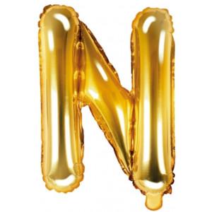 PartyDeco Bokstavsballong N, guld