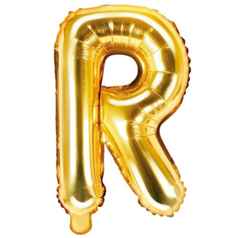 PartyDeco Bokstavsballong R, guld