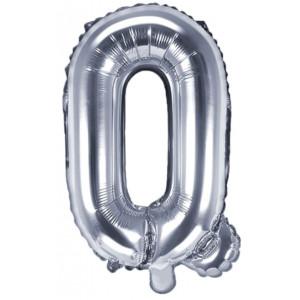 PartyDeco Bokstavsballong Q, silver