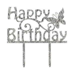 Cake Star Cake Topper, Happy Birthday Fjäril