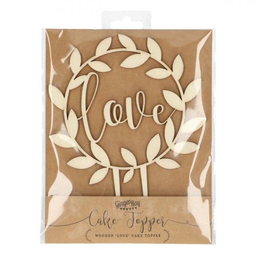 Ginger Ray Cake Topper i trä, Love, blad