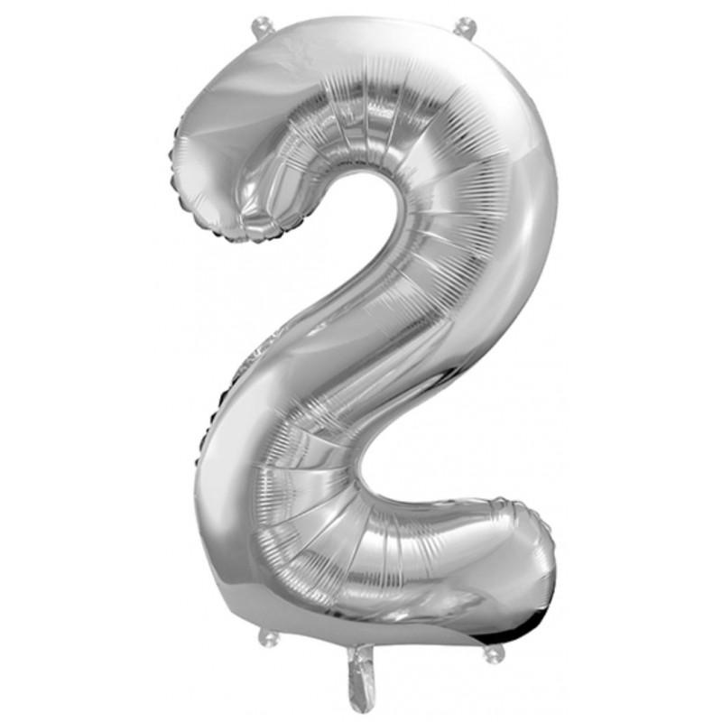 PartyDeco Sifferballong 2, silver, 86 cm