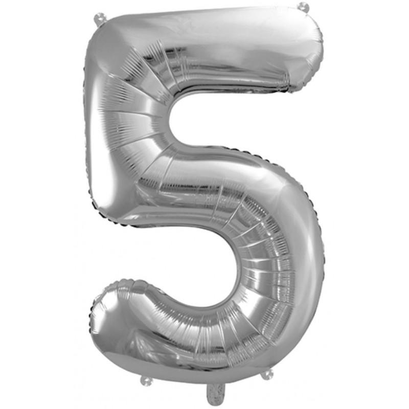PartyDeco Sifferballong 5, silver, 86 cm