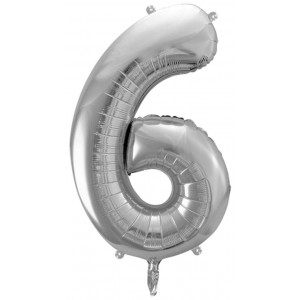 PartyDeco Sifferballong 6, silver, 86 cm