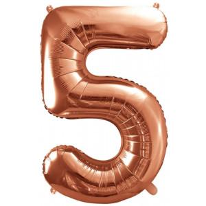 PartyDeco Sifferballong 5, roséguld, 86 cm