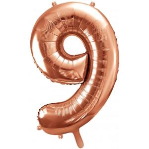 PartyDeco Sifferballong 9, roséguld, 86 cm