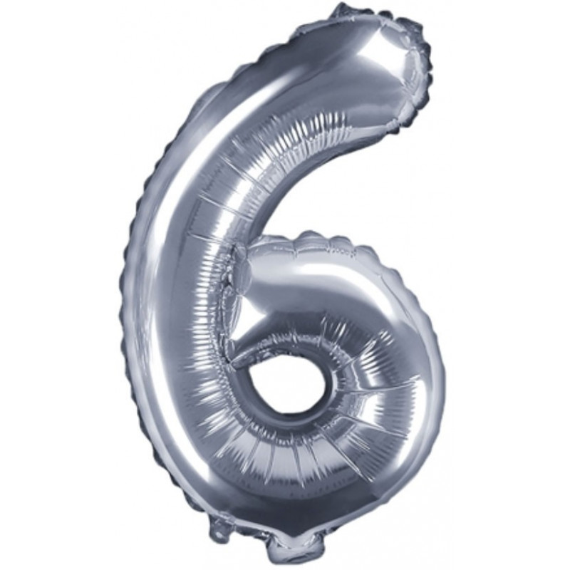 PartyDeco Sifferballong 6, silver, 35 cm