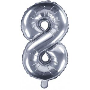 PartyDeco Sifferballong 8, silver, 35 cm