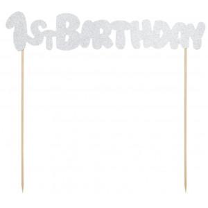 PartyDeco Cake Topper 1st Birthday, silver glitter