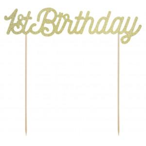 PartyDeco Cake Topper 1st Birthday, guld glitter