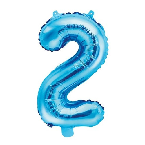 PartyDeco Sifferballong 2, blå, 35 cm