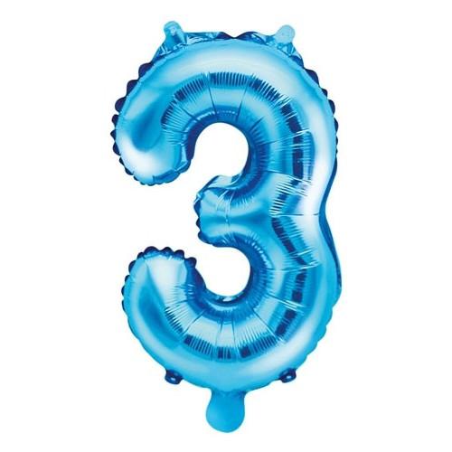 PartyDeco Sifferballong 3, blå, 35 cm