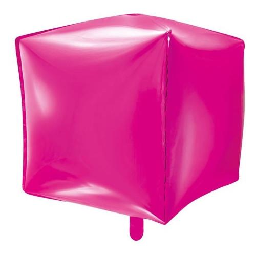 PartyDeco Folieballong Kub, rosa