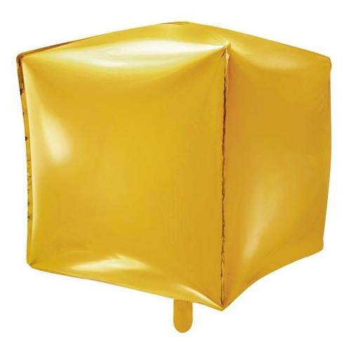 PartyDeco Folieballong Kub, guld